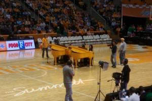 Matching Orange Grand Pianos
