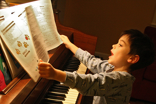 Child with music
