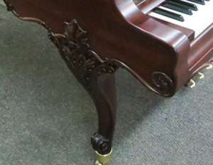Kranic and Bach piano detail scrollwork after restoration