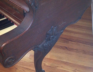 Kranic and Bach piano detail scrollwork before restoration