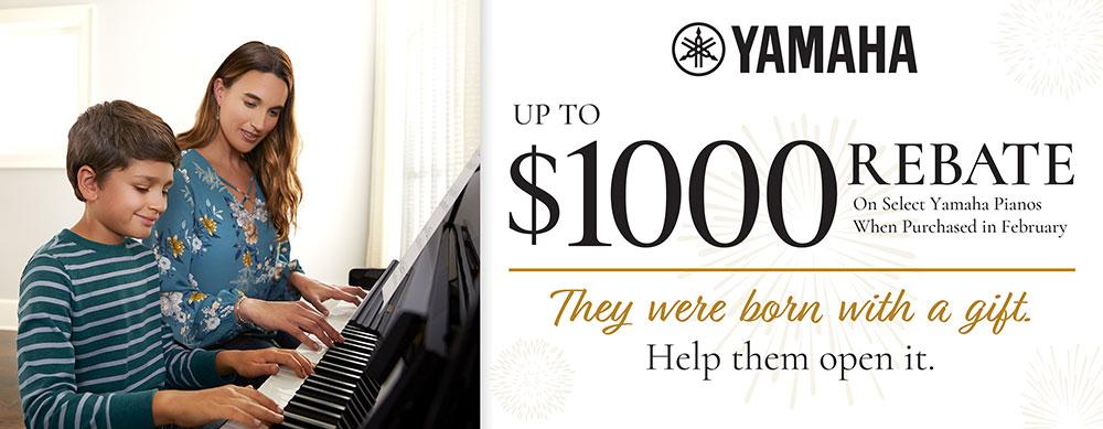 Up to $1000 rebate on select Yamaha Pianos
