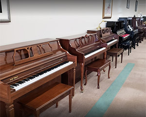 A row of pianos is displayed against a wall in Piano Emporium's Weaverville location